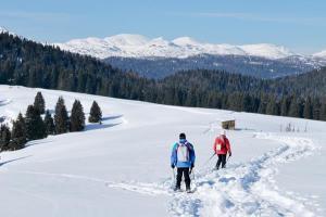 Con le ciaspole sulle nevi dell'Altopiano (foto: Roberto Costa Ebech).