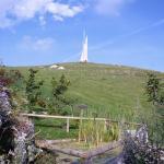 Monumento ai caduti sul monte Corno, visto dal giardino botanico alpino