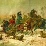 """La """"stampa di Tönle"""", utilizzata per l'edizione in lingua cimbra della Storia di Tönle (da un dipinto di Theodor Breitwieser)."""